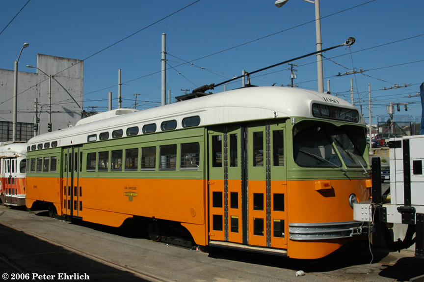 (183k, 864x574)<br><b>Country:</b> United States<br><b>City:</b> San Francisco/Bay Area, CA<br><b>System:</b> SF MUNI<br><b>Location:</b> Geneva Yard <br><b>Car:</b> SF MUNI PCC (Ex-NJTransit, Ex-Twin City) (St. Louis Car Co., 1946-1947)  1080 <br><b>Photo by:</b> Peter Ehrlich<br><b>Date:</b> 8/9/2006<br><b>Notes:</b> In Geneva Yard.  (PCC 1080-Los Angeles Transit Lines)<br><b>Viewed (this week/total):</b> 0 / 2097