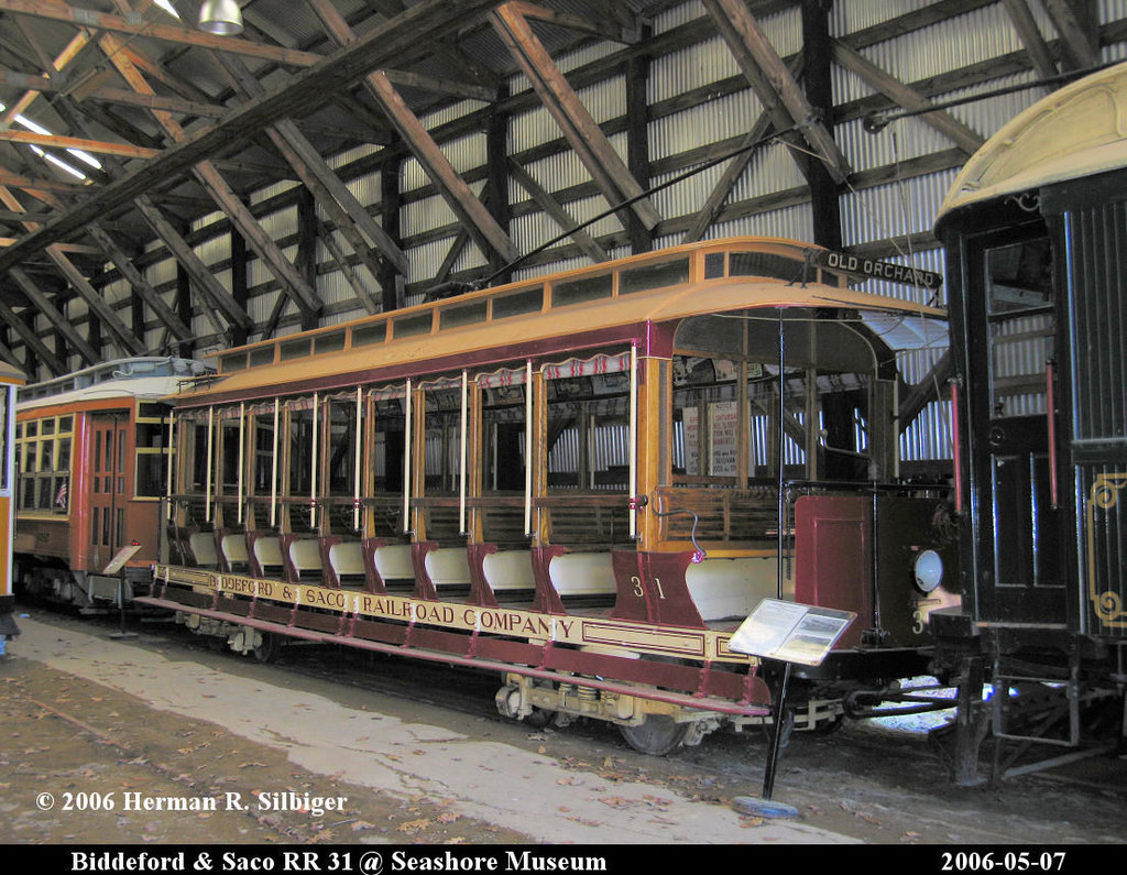 (257k, 1024x795)<br><b>Country:</b> United States<br><b>City:</b> Kennebunk, ME<br><b>System:</b> Seashore Trolley Museum <br><b>Car:</b> Biddeford & Saco 31 <br><b>Photo by:</b> Herman R. Silbiger<br><b>Date:</b> 5/7/2006<br><b>Viewed (this week/total):</b> 1 / 1426