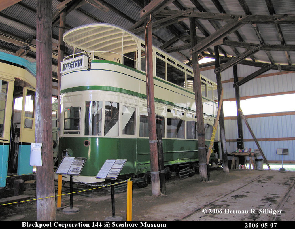 (233k, 1024x795)<br><b>Country:</b> United States<br><b>City:</b> Kennebunk, ME<br><b>System:</b> Seashore Trolley Museum <br><b>Car:</b> Blackpool Tram 144 <br><b>Photo by:</b> Herman R. Silbiger<br><b>Date:</b> 5/7/2006<br><b>Viewed (this week/total):</b> 2 / 996