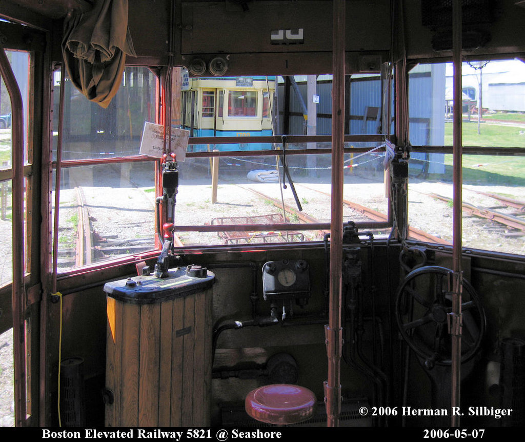 (244k, 1024x862)<br><b>Country:</b> United States<br><b>City:</b> Kennebunk, ME<br><b>System:</b> Seashore Trolley Museum <br><b>Car:</b> MBTA 5821 <br><b>Photo by:</b> Herman R. Silbiger<br><b>Date:</b> 5/7/2006<br><b>Viewed (this week/total):</b> 1 / 1100