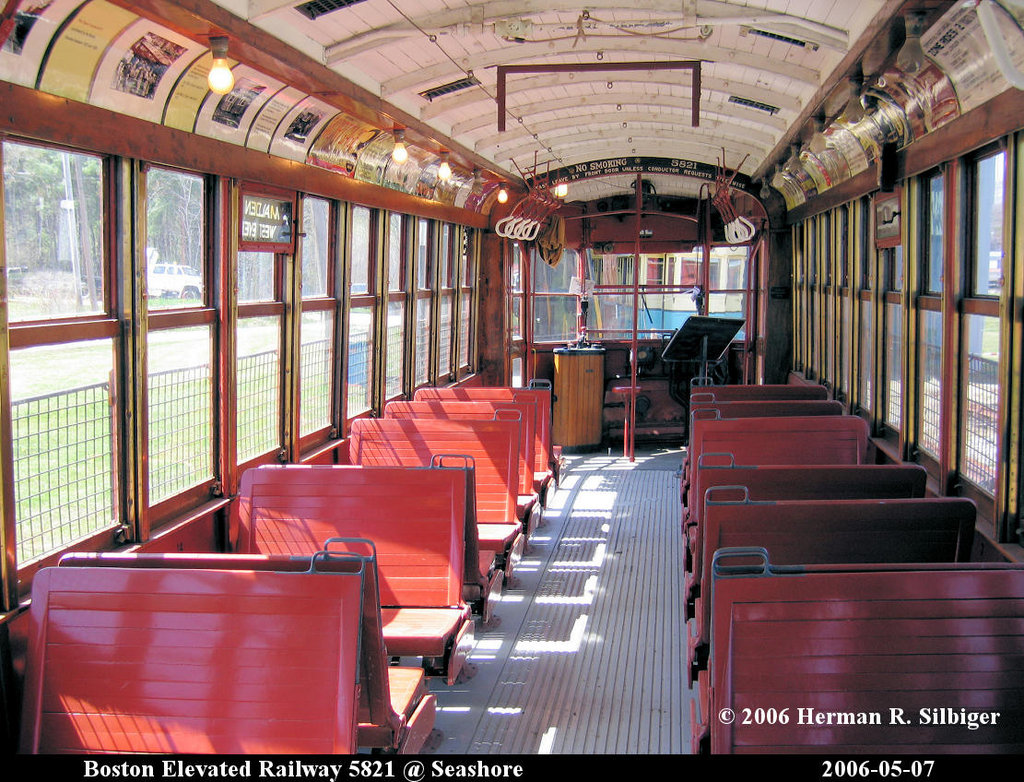 (291k, 1024x782)<br><b>Country:</b> United States<br><b>City:</b> Kennebunk, ME<br><b>System:</b> Seashore Trolley Museum <br><b>Car:</b> MBTA 5821 <br><b>Photo by:</b> Herman R. Silbiger<br><b>Date:</b> 5/7/2006<br><b>Viewed (this week/total):</b> 0 / 868