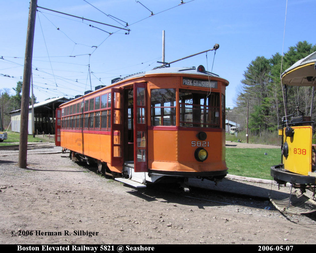 (238k, 1024x820)<br><b>Country:</b> United States<br><b>City:</b> Kennebunk, ME<br><b>System:</b> Seashore Trolley Museum <br><b>Car:</b> MBTA 5821 <br><b>Photo by:</b> Herman R. Silbiger<br><b>Date:</b> 5/7/2006<br><b>Viewed (this week/total):</b> 2 / 1191