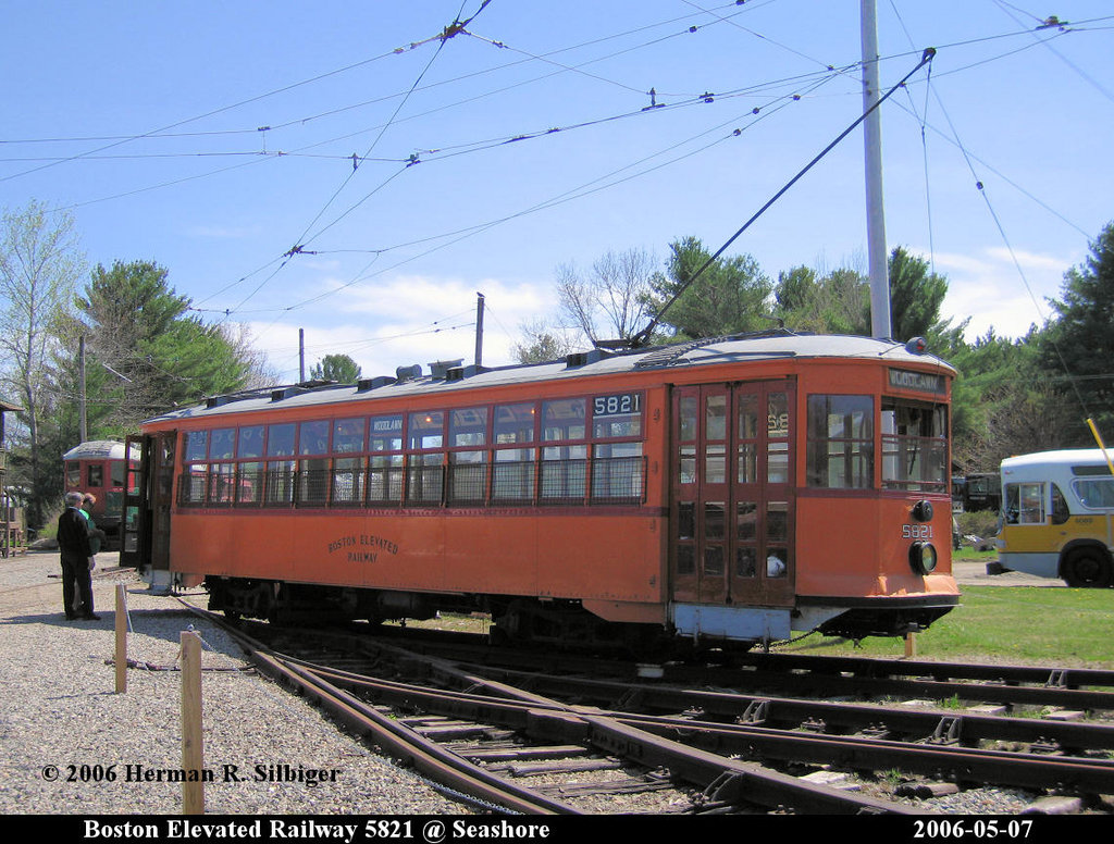 (246k, 1024x776)<br><b>Country:</b> United States<br><b>City:</b> Kennebunk, ME<br><b>System:</b> Seashore Trolley Museum <br><b>Car:</b> MBTA 5821 <br><b>Photo by:</b> Herman R. Silbiger<br><b>Date:</b> 5/7/2006<br><b>Viewed (this week/total):</b> 1 / 802
