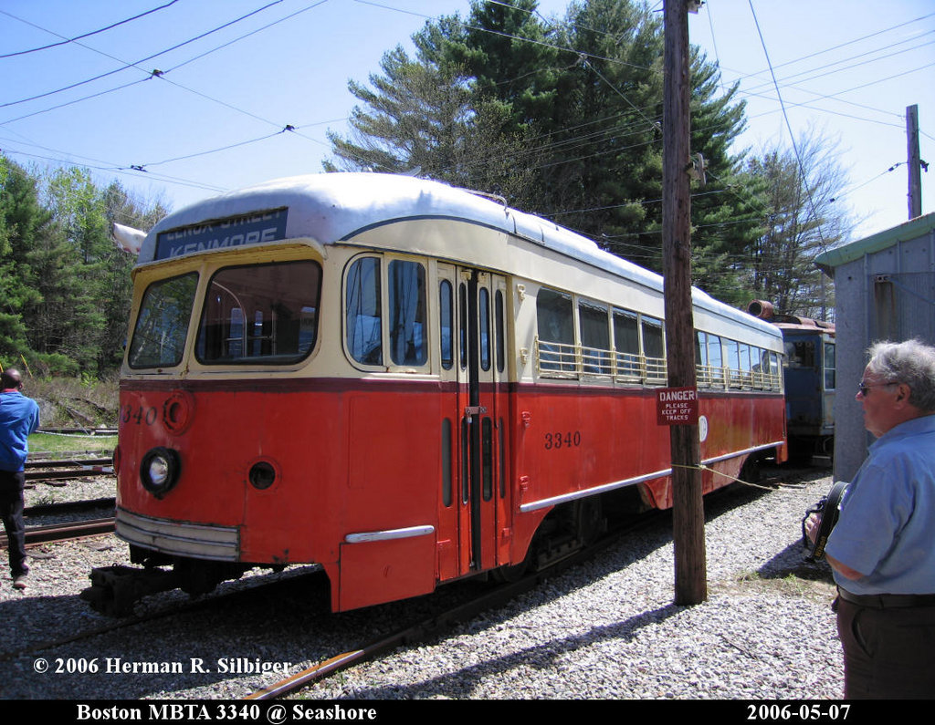 (267k, 1024x795)<br><b>Country:</b> United States<br><b>City:</b> Kennebunk, ME<br><b>System:</b> Seashore Trolley Museum <br><b>Car:</b> MBTA/BSRy PCC Dallas Double End (Pullman-Standard, 1945)  3340 <br><b>Photo by:</b> Herman R. Silbiger<br><b>Date:</b> 5/7/2006<br><b>Notes:</b> Former Dallas Railway & Terminal 615<br><b>Viewed (this week/total):</b> 1 / 1662