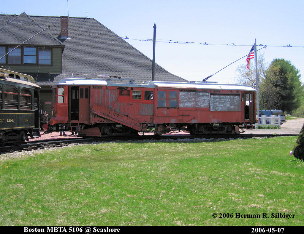 (269k, 1024x790)<br><b>Country:</b> United States<br><b>City:</b> Kennebunk, ME<br><b>System:</b> Seashore Trolley Museum <br><b>Car:</b> MBTA 5106 <br><b>Photo by:</b> Herman R. Silbiger<br><b>Date:</b> 5/7/2006<br><b>Viewed (this week/total):</b> 1 / 810