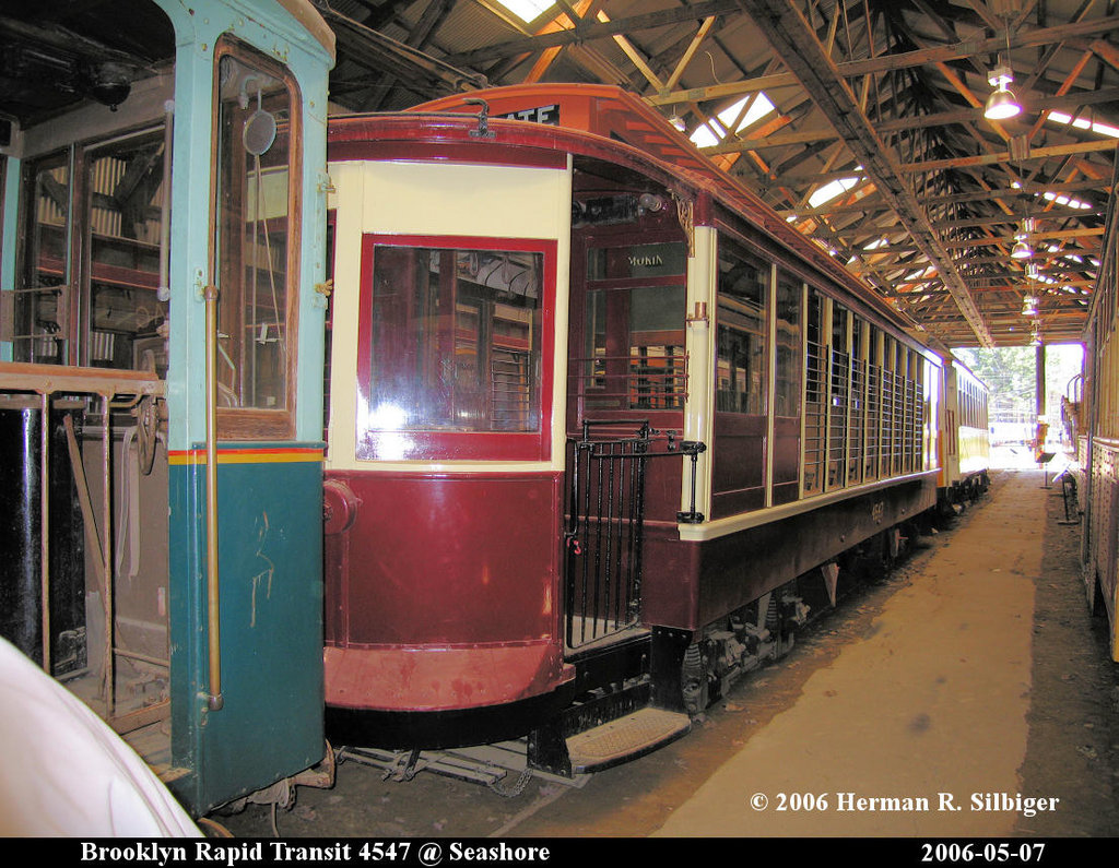 (266k, 1024x795)<br><b>Country:</b> United States<br><b>City:</b> Kennebunk, ME<br><b>System:</b> Seashore Trolley Museum <br><b>Car:</b> B&QT/BMT 4547 <br><b>Photo by:</b> Herman R. Silbiger<br><b>Date:</b> 5/7/2006<br><b>Viewed (this week/total):</b> 1 / 812