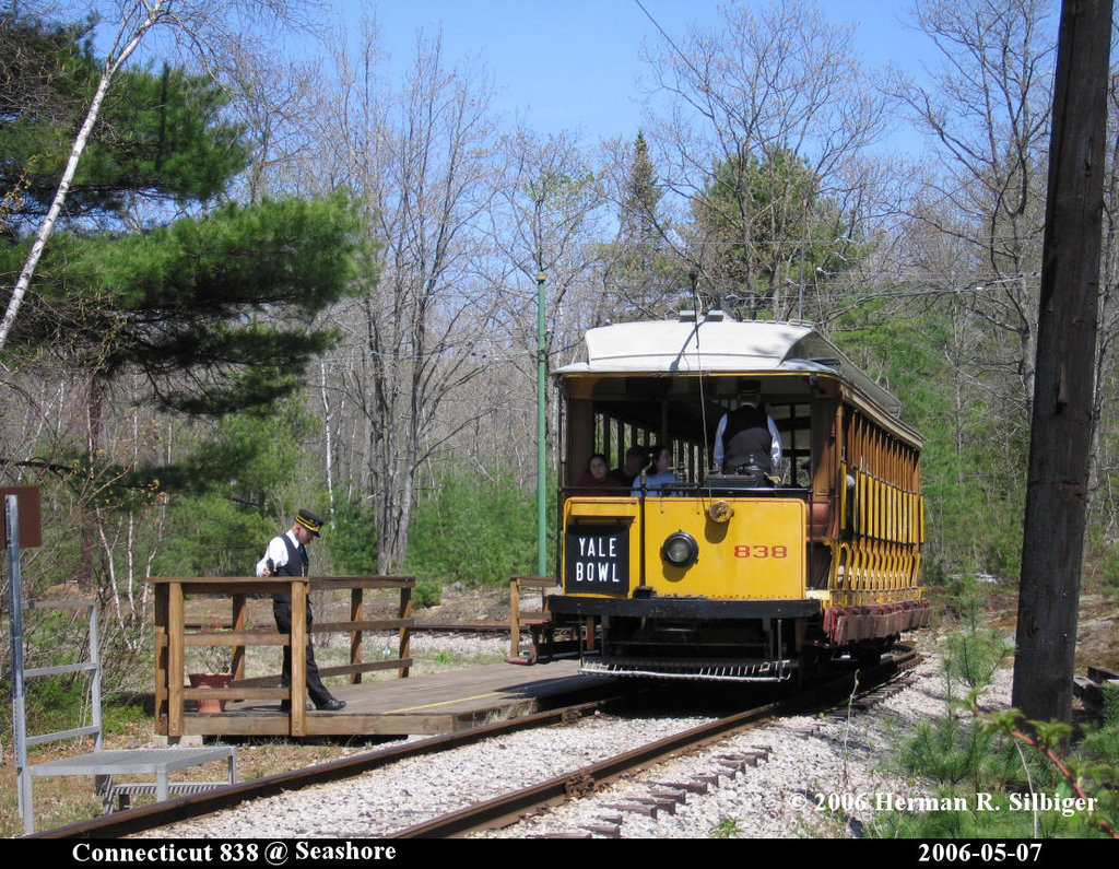 (326k, 1024x795)<br><b>Country:</b> United States<br><b>City:</b> Kennebunk, ME<br><b>System:</b> Seashore Trolley Museum <br><b>Car:</b> Connecticut Company 838 <br><b>Photo by:</b> Herman R. Silbiger<br><b>Date:</b> 5/7/2006<br><b>Viewed (this week/total):</b> 2 / 799