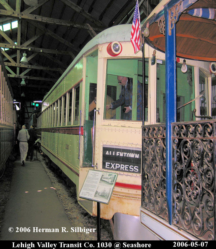 (204k, 755x868)<br><b>Country:</b> United States<br><b>City:</b> Kennebunk, ME<br><b>System:</b> Seashore Trolley Museum <br><b>Car:</b> Lehigh Valley 1030 <br><b>Photo by:</b> Herman R. Silbiger<br><b>Date:</b> 5/7/2006<br><b>Viewed (this week/total):</b> 1 / 930