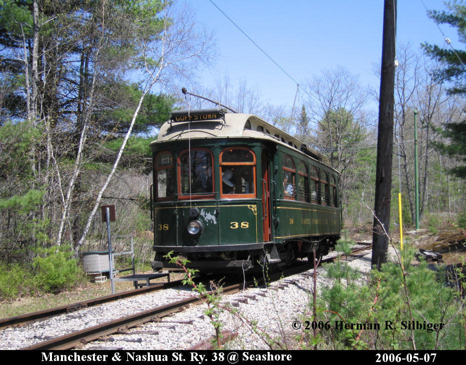 (237k, 933x730)<br><b>Country:</b> United States<br><b>City:</b> Kennebunk, ME<br><b>System:</b> Seashore Trolley Museum <br><b>Car:</b> Manchester & Nashua 38 <br><b>Photo by:</b> Herman R. Silbiger<br><b>Date:</b> 5/7/2006<br><b>Viewed (this week/total):</b> 2 / 994
