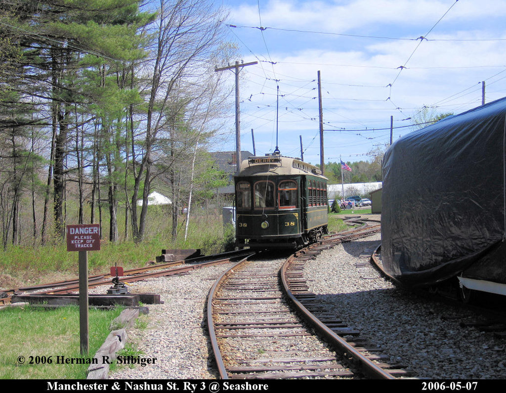 (325k, 1024x795)<br><b>Country:</b> United States<br><b>City:</b> Kennebunk, ME<br><b>System:</b> Seashore Trolley Museum <br><b>Car:</b> Manchester & Nashua 38 <br><b>Photo by:</b> Herman R. Silbiger<br><b>Date:</b> 5/7/2006<br><b>Viewed (this week/total):</b> 0 / 631