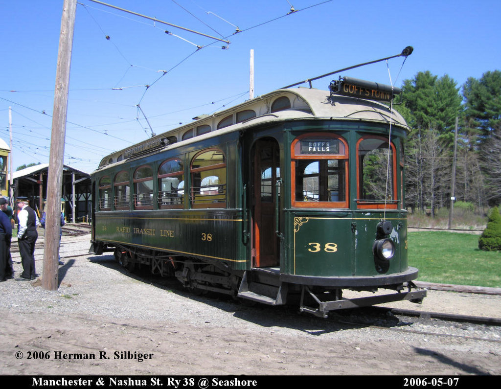 (218k, 1024x795)<br><b>Country:</b> United States<br><b>City:</b> Kennebunk, ME<br><b>System:</b> Seashore Trolley Museum <br><b>Car:</b> Manchester & Nashua 38 <br><b>Photo by:</b> Herman R. Silbiger<br><b>Date:</b> 5/7/2006<br><b>Viewed (this week/total):</b> 1 / 781