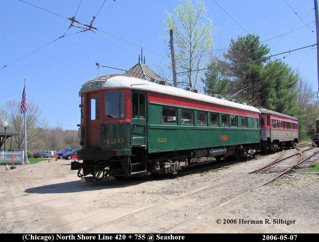 (261k, 1024x777)<br><b>Country:</b> United States<br><b>City:</b> Kennebunk, ME<br><b>System:</b> Seashore Trolley Museum <br><b>Car:</b> Chicago North Shore 420/755 <br><b>Photo by:</b> Herman R. Silbiger<br><b>Date:</b> 5/7/2006<br><b>Viewed (this week/total):</b> 0 / 782