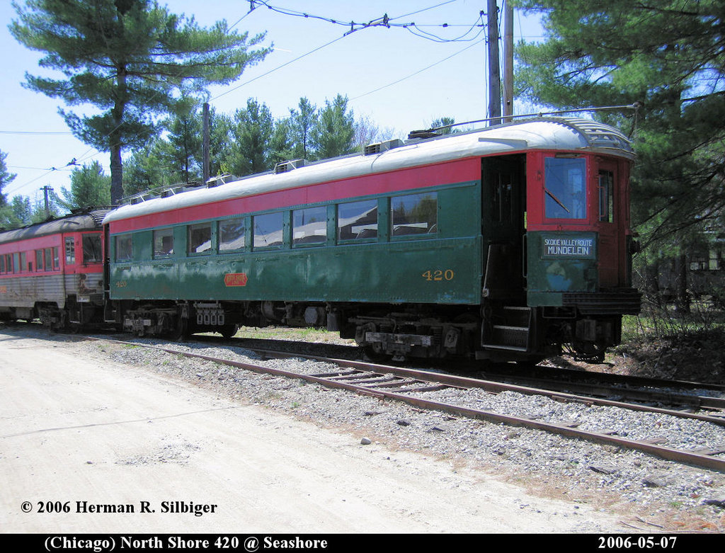 (279k, 1024x781)<br><b>Country:</b> United States<br><b>City:</b> Kennebunk, ME<br><b>System:</b> Seashore Trolley Museum <br><b>Car:</b> Chicago North Shore 420 <br><b>Photo by:</b> Herman R. Silbiger<br><b>Date:</b> 5/7/2006<br><b>Viewed (this week/total):</b> 2 / 822
