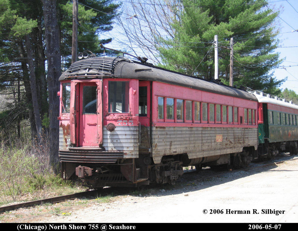 (282k, 1024x795)<br><b>Country:</b> United States<br><b>City:</b> Kennebunk, ME<br><b>System:</b> Seashore Trolley Museum <br><b>Car:</b> Chicago North Shore 755 <br><b>Photo by:</b> Herman R. Silbiger<br><b>Date:</b> 5/7/2006<br><b>Viewed (this week/total):</b> 6 / 1392