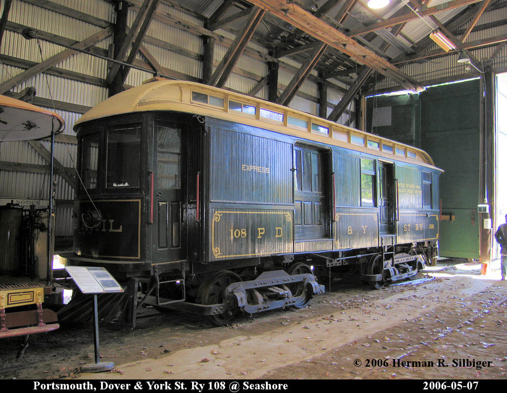 (278k, 1024x794)<br><b>Country:</b> United States<br><b>City:</b> Kennebunk, ME<br><b>System:</b> Seashore Trolley Museum <br><b>Car:</b> Portsmouth, Dover, & York 108 <br><b>Photo by:</b> Herman R. Silbiger<br><b>Date:</b> 5/7/2006<br><b>Viewed (this week/total):</b> 0 / 739