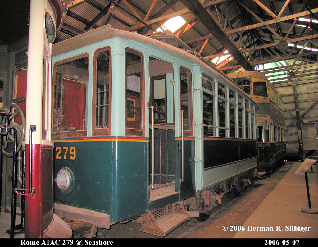 (258k, 1024x795)<br><b>Country:</b> United States<br><b>City:</b> Kennebunk, ME<br><b>System:</b> Seashore Trolley Museum <br><b>Car:</b> Rome ATAC 279 <br><b>Photo by:</b> Herman R. Silbiger<br><b>Date:</b> 5/7/2006<br><b>Viewed (this week/total):</b> 1 / 953
