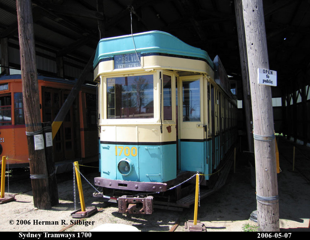 (196k, 1024x795)<br><b>Country:</b> United States<br><b>City:</b> Kennebunk, ME<br><b>System:</b> Seashore Trolley Museum <br><b>Car:</b> Sydney Tramways 1700 <br><b>Photo by:</b> Herman R. Silbiger<br><b>Date:</b> 5/7/2006<br><b>Viewed (this week/total):</b> 0 / 668
