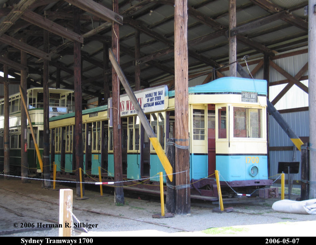 (214k, 1024x794)<br><b>Country:</b> United States<br><b>City:</b> Kennebunk, ME<br><b>System:</b> Seashore Trolley Museum <br><b>Car:</b> Sydney Tramways 1700 <br><b>Photo by:</b> Herman R. Silbiger<br><b>Date:</b> 5/7/2006<br><b>Viewed (this week/total):</b> 2 / 676
