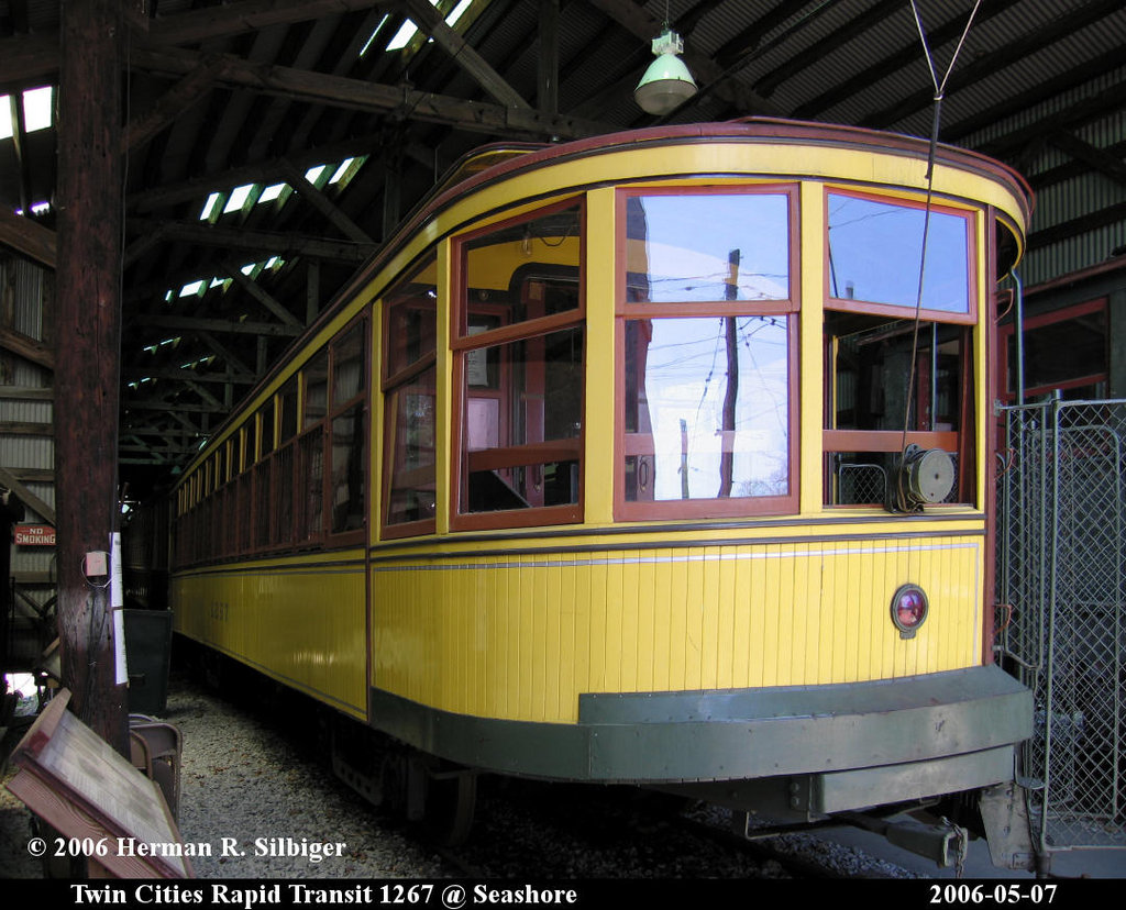 (224k, 1024x828)<br><b>Country:</b> United States<br><b>City:</b> Kennebunk, ME<br><b>System:</b> Seashore Trolley Museum <br><b>Car:</b> Twin City Rapid Transit 1267 <br><b>Photo by:</b> Herman R. Silbiger<br><b>Date:</b> 5/7/2006<br><b>Viewed (this week/total):</b> 0 / 759