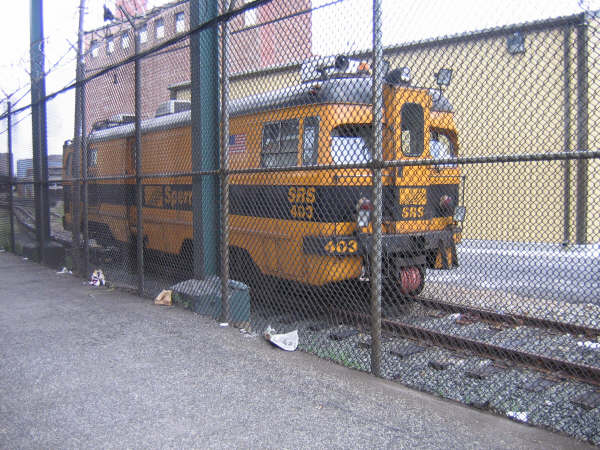 (68k, 600x450)<br><b>Country:</b> United States<br><b>City:</b> New York<br><b>System:</b> New York City Transit<br><b>Location:</b> Coney Island Yard<br><b>Car:</b> Sperry Rail Service  403 <br><b>Photo by:</b> Professor J<br><b>Date:</b> 8/26/2006<br><b>Viewed (this week/total):</b> 0 / 2478