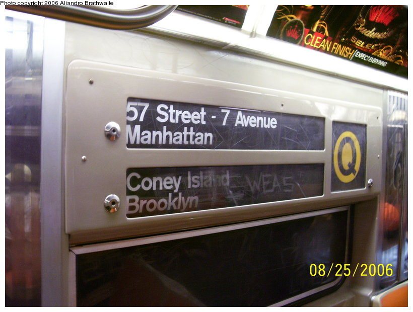 (103k, 820x620)<br><b>Country:</b> United States<br><b>City:</b> New York<br><b>System:</b> New York City Transit<br><b>Route:</b> Q<br><b>Car:</b> R-68 (Westinghouse-Amrail, 1986-1988)  2807 <br><b>Photo by:</b> Aliandro Brathwaite<br><b>Date:</b> 8/25/2006<br><b>Notes:</b> Note original R68-type rollsign; most cars have had new ones installed.<br><b>Viewed (this week/total):</b> 5 / 3478