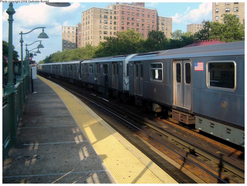 (260k, 1044x788)<br><b>Country:</b> United States<br><b>City:</b> New York<br><b>System:</b> New York City Transit<br><b>Line:</b> IRT White Plains Road Line<br><b>Location:</b> Jackson Avenue <br><b>Route:</b> 5<br><b>Car:</b> R-142A (Option Order, Kawasaki, 2002-2003)  7705/7704 <br><b>Photo by:</b> DeAndre Burrell<br><b>Date:</b> 7/30/2006<br><b>Viewed (this week/total):</b> 0 / 3941