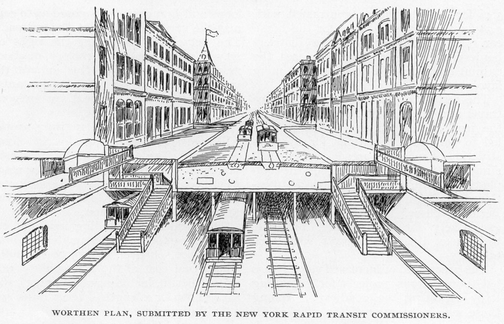 (239k, 1024x659)<br><b>Photo by:</b> Rapid Transit in Great Cities (1891)<br><b>Notes:</b> Worthen Plan, Submitted By The New York Rapid Transit Commissioners.<br><b>Viewed (this week/total):</b> 0 / 2386