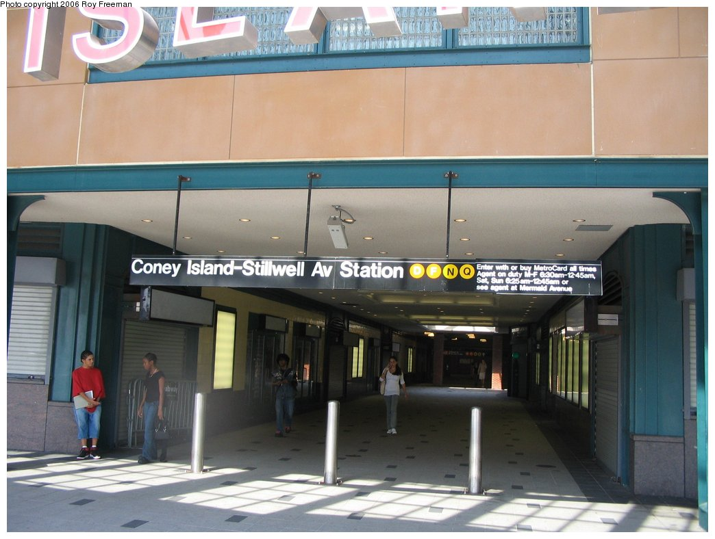 (137k, 1044x788)<br><b>Country:</b> United States<br><b>City:</b> New York<br><b>System:</b> New York City Transit<br><b>Location:</b> Coney Island/Stillwell Avenue<br><b>Photo by:</b> Roy Freeman<br><b>Date:</b> 9/8/2006<br><b>Notes:</b> Station entrance after renovations completed.<br><b>Viewed (this week/total):</b> 5 / 2278