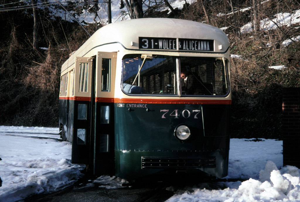 (283k, 1024x689)<br><b>Country:</b> United States<br><b>City:</b> Baltimore, MD<br><b>System:</b> Baltimore Streetcar Museum <br><b>Car:</b> PCC 7407 <br><b>Photo by:</b> Chris Leverett<br><b>Date:</b> 2/6/2000<br><b>Viewed (this week/total):</b> 1 / 765