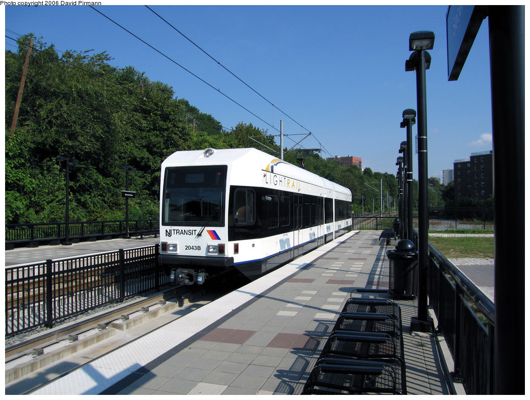 (265k, 1044x788)<br><b>Country:</b> United States<br><b>City:</b> Hoboken, NJ<br><b>System:</b> Hudson Bergen Light Rail<br><b>Location:</b> 2nd Street <br><b>Car:</b> NJT-HBLR LRV (Kinki-Sharyo, 1998-99)  2043 <br><b>Photo by:</b> David Pirmann<br><b>Date:</b> 9/28/2006<br><b>Viewed (this week/total):</b> 0 / 1245