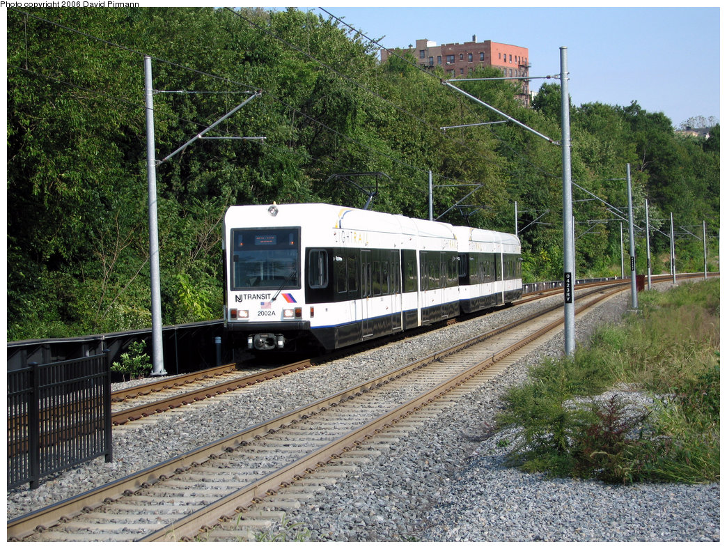 (387k, 1044x788)<br><b>Country:</b> United States<br><b>City:</b> Hoboken, NJ<br><b>System:</b> Hudson Bergen Light Rail<br><b>Location:</b> 2nd Street <br><b>Car:</b> NJT-HBLR LRV (Kinki-Sharyo, 1998-99)  2002 <br><b>Photo by:</b> David Pirmann<br><b>Date:</b> 9/28/2006<br><b>Viewed (this week/total):</b> 0 / 1395