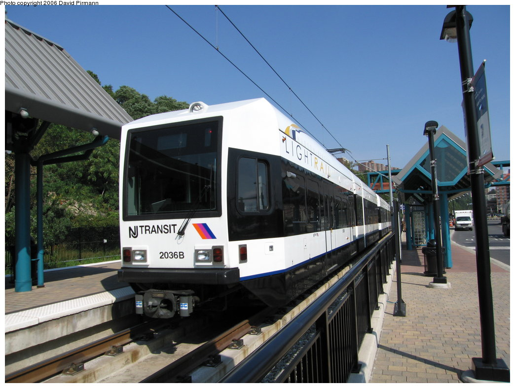 (174k, 1044x788)<br><b>Country:</b> United States<br><b>City:</b> Weehawken, NJ<br><b>System:</b> Hudson Bergen Light Rail<br><b>Location:</b> Port Imperial <br><b>Car:</b> NJT-HBLR LRV (Kinki-Sharyo, 1998-99)  2036 <br><b>Photo by:</b> David Pirmann<br><b>Date:</b> 9/28/2006<br><b>Viewed (this week/total):</b> 2 / 1067
