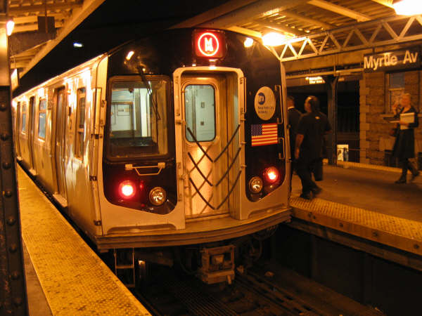 (52k, 600x450)<br><b>Country:</b> United States<br><b>City:</b> New York<br><b>System:</b> New York City Transit<br><b>Line:</b> BMT Nassau Street/Jamaica Line<br><b>Location:</b> Myrtle Avenue <br><b>Route:</b> M<br><b>Car:</b> R-143 (Kawasaki, 2001-2002)  <br><b>Photo by:</b> Professor J<br><b>Date:</b> 9/30/2006<br><b>Viewed (this week/total):</b> 3 / 4408