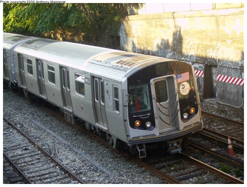 (148k, 820x620)<br><b>Country:</b> United States<br><b>City:</b> New York<br><b>System:</b> New York City Transit<br><b>Line:</b> BMT Sea Beach Line<br><b>Location:</b> 20th Avenue <br><b>Route:</b> Testing.<br><b>Car:</b> R-160A-2 (Alstom, 2005-2008, 5 car sets)  8653 <br><b>Photo by:</b> Anthony Maimone<br><b>Date:</b> 10/4/2006<br><b>Viewed (this week/total):</b> 3 / 2644