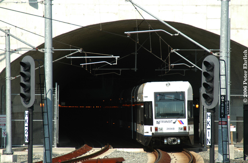 (193k, 864x569)<br><b>Country:</b> United States<br><b>City:</b> Weehawken, NJ<br><b>System:</b> Hudson Bergen Light Rail<br><b>Location:</b> Weehawken (Palisade) Tunnel (East Portal) <br><b>Car:</b> NJT-HBLR LRV (Kinki-Sharyo, 1998-99)  2036 <br><b>Photo by:</b> Peter Ehrlich<br><b>Date:</b> 9/28/2006<br><b>Viewed (this week/total):</b> 2 / 1621