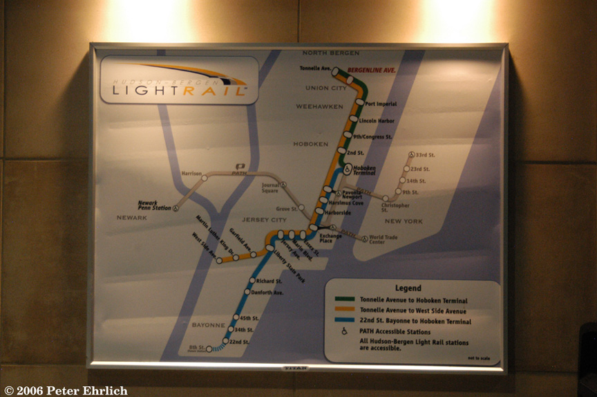 (170k, 864x574)<br><b>Country:</b> United States<br><b>City:</b> Union City, NJ<br><b>System:</b> Hudson Bergen Light Rail<br><b>Location:</b> Bergenline Avenue <br><b>Photo by:</b> Peter Ehrlich<br><b>Date:</b> 9/28/2006<br><b>Notes:</b> System Map at Bergenline Ave.<br><b>Viewed (this week/total):</b> 0 / 2543