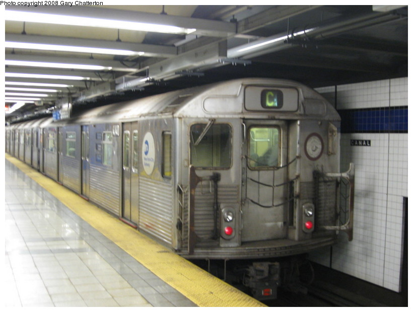 (113k, 820x620)<br><b>Country:</b> United States<br><b>City:</b> New York<br><b>System:</b> New York City Transit<br><b>Line:</b> IND 8th Avenue Line<br><b>Location:</b> Canal Street-Holland Tunnel <br><b>Route:</b> C<br><b>Car:</b> R-38 (St. Louis, 1966-1967)  4140 <br><b>Photo by:</b> Gary Chatterton<br><b>Date:</b> 10/2/2008<br><b>Viewed (this week/total):</b> 0 / 1004