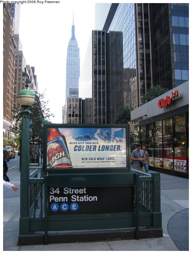 (113k, 620x820)<br><b>Country:</b> United States<br><b>City:</b> New York<br><b>System:</b> New York City Transit<br><b>Line:</b> IND 8th Avenue Line<br><b>Location:</b> 34th Street/Penn Station <br><b>Photo by:</b> Roy Freeman<br><b>Date:</b> 9/10/2006<br><b>Notes:</b> Station entrance W. 34th & 8th Ave.<br><b>Viewed (this week/total):</b> 0 / 2502