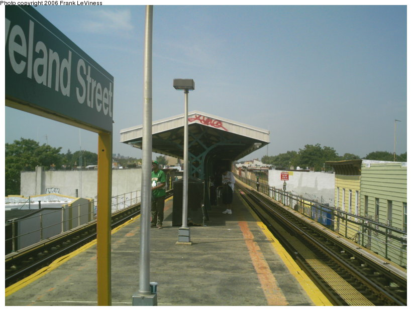 (105k, 820x620)<br><b>Country:</b> United States<br><b>City:</b> New York<br><b>System:</b> New York City Transit<br><b>Line:</b> BMT Nassau Street/Jamaica Line<br><b>Location:</b> Cleveland Street <br><b>Photo by:</b> Frank LeViness<br><b>Date:</b> 7/28/2006<br><b>Notes:</b> Station canopy.<br><b>Viewed (this week/total):</b> 3 / 1646