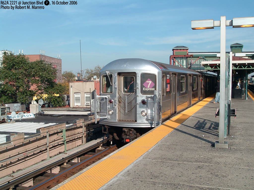 (206k, 1024x768)<br><b>Country:</b> United States<br><b>City:</b> New York<br><b>System:</b> New York City Transit<br><b>Line:</b> IRT Flushing Line<br><b>Location:</b> Junction Boulevard <br><b>Route:</b> 7<br><b>Car:</b> R-62A (Bombardier, 1984-1987)  2221 <br><b>Photo by:</b> Robert Marrero<br><b>Date:</b> 10/16/2006<br><b>Notes:</b> R62A 5-car sets from the #1 temporarily assigned to the 7.<br><b>Viewed (this week/total):</b> 4 / 2432