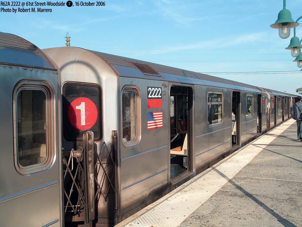 (168k, 1024x768)<br><b>Country:</b> United States<br><b>City:</b> New York<br><b>System:</b> New York City Transit<br><b>Line:</b> IRT Flushing Line<br><b>Location:</b> Junction Boulevard <br><b>Route:</b> 7<br><b>Car:</b> R-62A (Bombardier, 1984-1987)  2222 <br><b>Photo by:</b> Robert Marrero<br><b>Date:</b> 10/16/2006<br><b>Notes:</b> R62A 5-car sets from the #1 temporarily assigned to the 7. Note roll sign.<br><b>Viewed (this week/total):</b> 2 / 2952