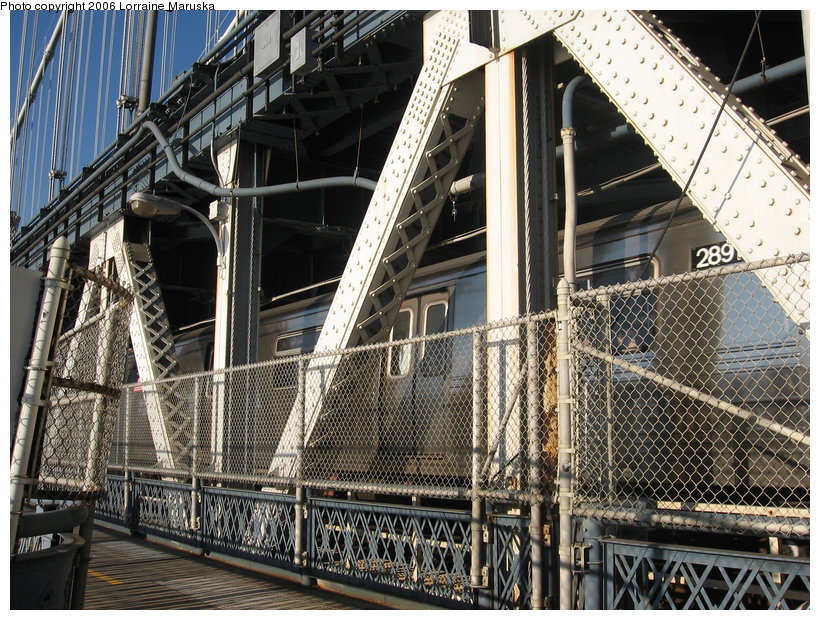 (198k, 820x620)<br><b>Country:</b> United States<br><b>City:</b> New York<br><b>System:</b> New York City Transit<br><b>Location:</b> Manhattan Bridge<br><b>Route:</b> D<br><b>Car:</b> R-68 (Westinghouse-Amrail, 1986-1988)  2891 <br><b>Photo by:</b> Lorraine Maruska<br><b>Date:</b> 10/9/2006<br><b>Viewed (this week/total):</b> 0 / 3991