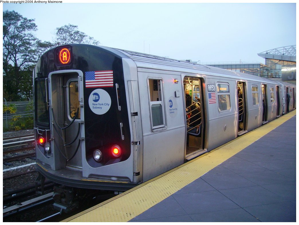(163k, 1044x788)<br><b>Country:</b> United States<br><b>City:</b> New York<br><b>System:</b> New York City Transit<br><b>Line:</b> IND Rockaway<br><b>Location:</b> Howard Beach <br><b>Route:</b> A<br><b>Car:</b> R-160A-2 (Alstom, 2005-2008, 5 car sets)  8653 <br><b>Photo by:</b> Anthony Maimone<br><b>Date:</b> 10/16/2006<br><b>Notes:</b> First day of revenue service testing of the R160A.<br><b>Viewed (this week/total):</b> 2 / 7178