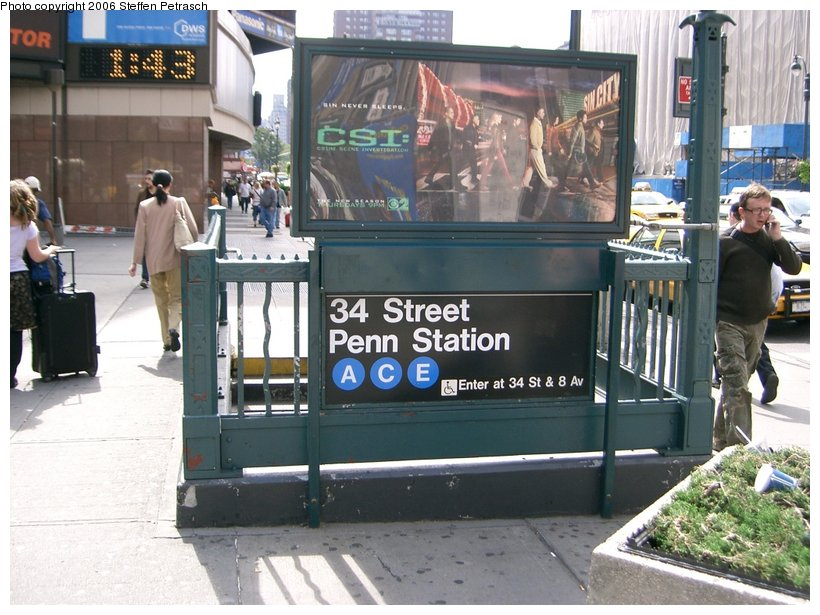 (157k, 820x615)<br><b>Country:</b> United States<br><b>City:</b> New York<br><b>System:</b> New York City Transit<br><b>Line:</b> IND 8th Avenue Line<br><b>Location:</b> 34th Street/Penn Station <br><b>Photo by:</b> Steffen Petrasch<br><b>Date:</b> 9/22/2006<br><b>Notes:</b> Station entrance.<br><b>Viewed (this week/total):</b> 1 / 2437