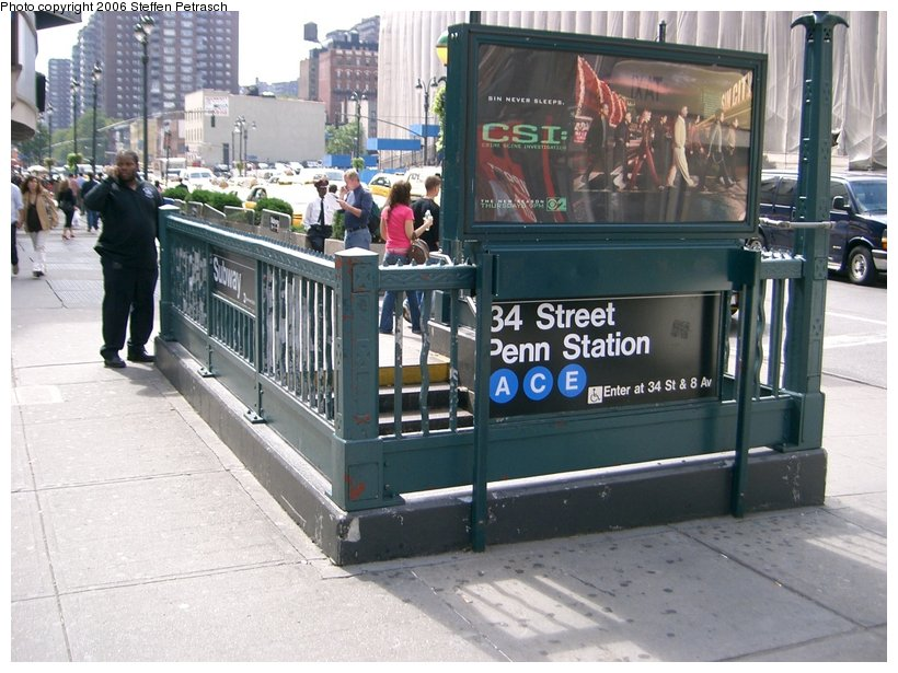(157k, 820x615)<br><b>Country:</b> United States<br><b>City:</b> New York<br><b>System:</b> New York City Transit<br><b>Line:</b> IND 8th Avenue Line<br><b>Location:</b> 34th Street/Penn Station <br><b>Photo by:</b> Steffen Petrasch<br><b>Date:</b> 9/22/2006<br><b>Notes:</b> Station entrance.<br><b>Viewed (this week/total):</b> 3 / 2285