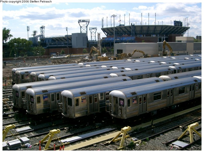 (169k, 820x615)<br><b>Country:</b> United States<br><b>City:</b> New York<br><b>System:</b> New York City Transit<br><b>Location:</b> Corona Yard<br><b>Car:</b> R-62A (Bombardier, 1984-1987)  1975 <br><b>Photo by:</b> Steffen Petrasch<br><b>Date:</b> 9/25/2006<br><b>Notes:</b> Demolition of old shop in progress.<br><b>Viewed (this week/total):</b> 0 / 1408