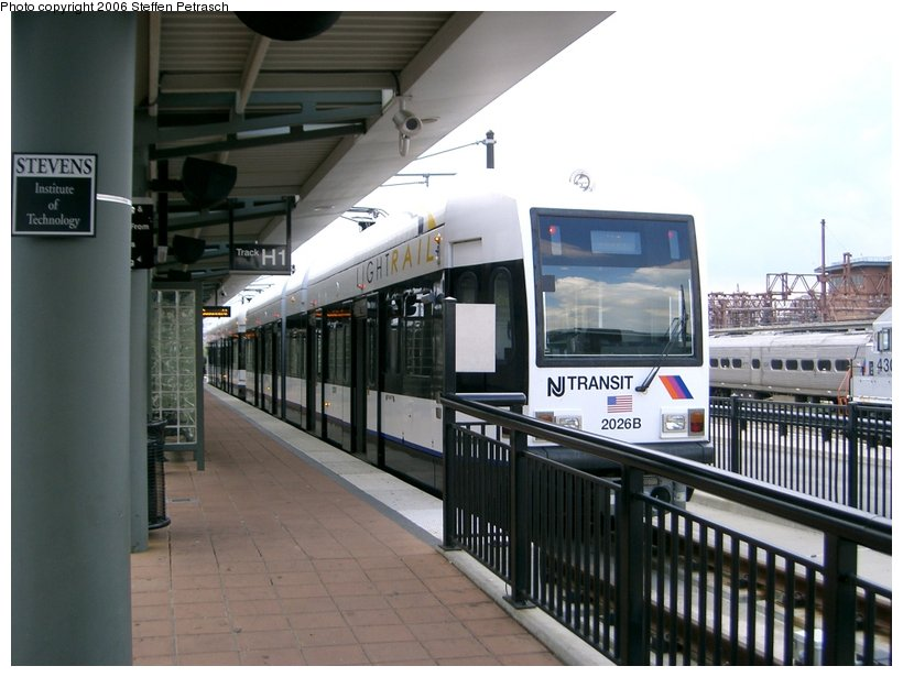 (128k, 820x615)<br><b>Country:</b> United States<br><b>City:</b> Hoboken, NJ<br><b>System:</b> Hudson Bergen Light Rail<br><b>Location:</b> Hoboken <br><b>Car:</b> NJT-HBLR LRV (Kinki-Sharyo, 1998-99)  2026 <br><b>Photo by:</b> Steffen Petrasch<br><b>Date:</b> 9/27/2006<br><b>Viewed (this week/total):</b> 0 / 927