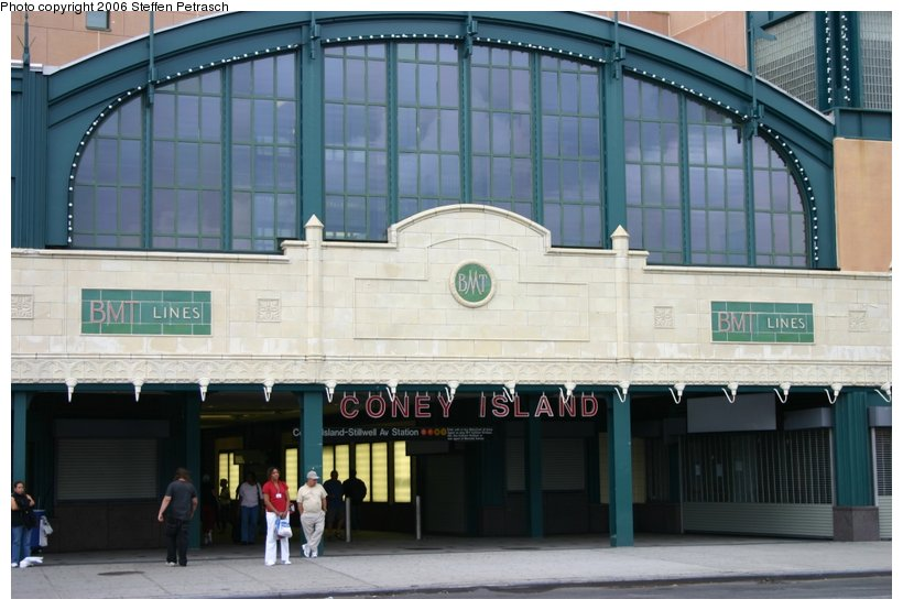 (99k, 820x554)<br><b>Country:</b> United States<br><b>City:</b> New York<br><b>System:</b> New York City Transit<br><b>Location:</b> Coney Island/Stillwell Avenue<br><b>Photo by:</b> Steffen Petrasch<br><b>Date:</b> 9/24/2006<br><b>Notes:</b> Close-up on remodeled station entrance.<br><b>Viewed (this week/total):</b> 7 / 1483