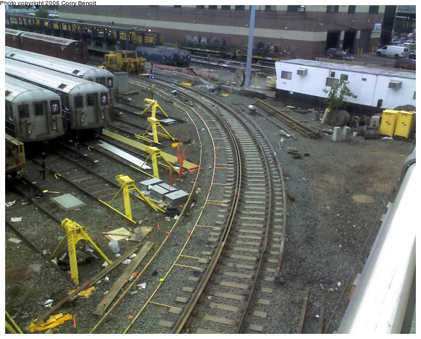 (171k, 820x660)<br><b>Country:</b> United States<br><b>City:</b> New York<br><b>System:</b> New York City Transit<br><b>Location:</b> Corona Yard<br><b>Photo by:</b> Corry Benoit<br><b>Date:</b> 10/26/2006<br><b>Notes:</b> Construction of new loop track at Corona Yard.<br><b>Viewed (this week/total):</b> 2 / 1369