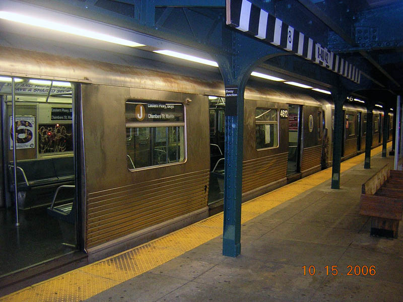 (113k, 800x600)<br><b>Country:</b> United States<br><b>City:</b> New York<br><b>System:</b> New York City Transit<br><b>Line:</b> BMT Nassau Street/Jamaica Line<br><b>Location:</b> Broadway/East New York (Broadway Junction) <br><b>Route:</b> J<br><b>Car:</b> R-42 (St. Louis, 1969-1970)  4612 <br><b>Photo by:</b> Robert Mencher<br><b>Date:</b> 10/15/2006<br><b>Viewed (this week/total):</b> 0 / 1900